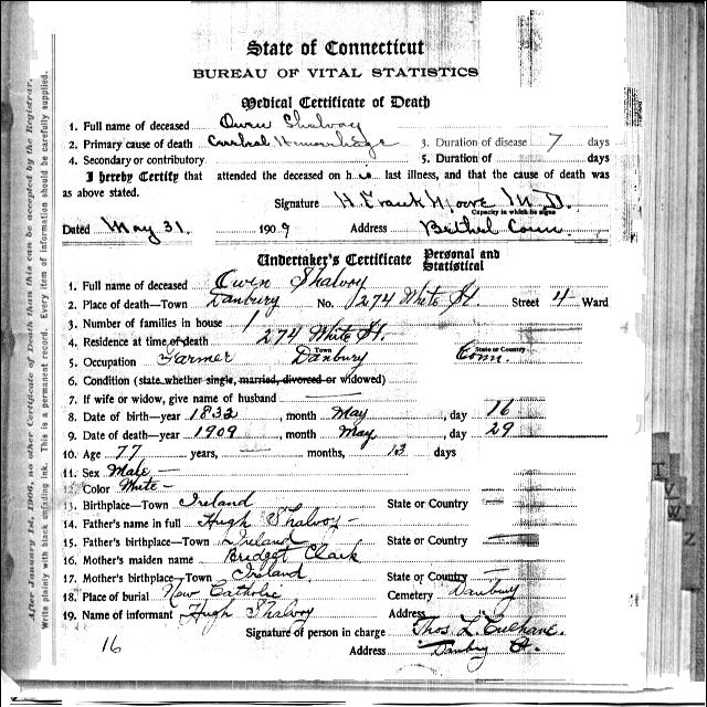 Death Certificate - Owen Shalvoy